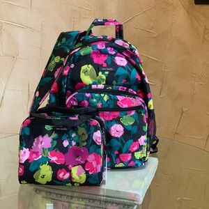 Vera Bradley floral backpack and lunch box set